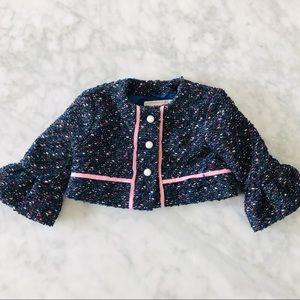 Janie & Jack baby girl tweet navy jacket size 6-12